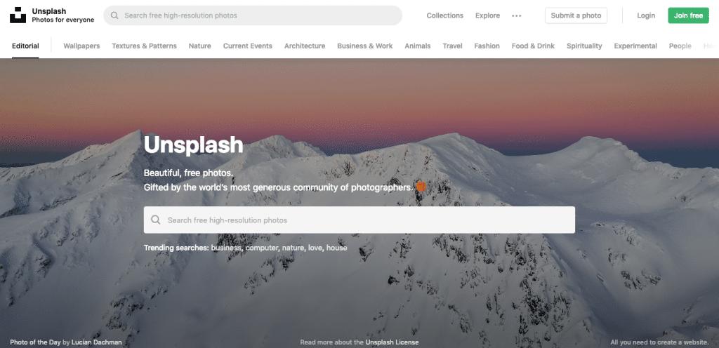 Capture d'écran du site Unsplash : une banque d'images libre de droit
